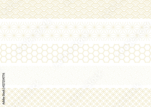 和柄 イラスト セット 金 白バック (青海波 麻の葉 亀甲文様 紗綾形 七宝文様)