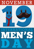Cartoon Design with Reminder Date of International Mens Day, Vector Illustration