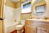 Marine style Bathroom interior in beige yellow tones