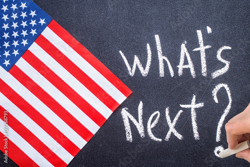 What's next on the chalk board and US flag Poster