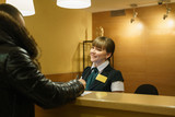 Hotel manager welcoming smiles the guest