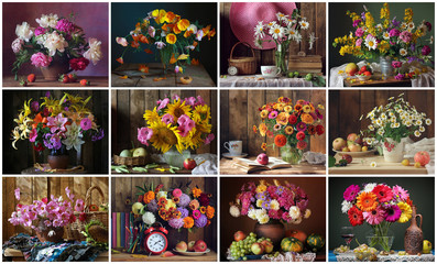 Set for a calendar of twelve still lifes with flowers.