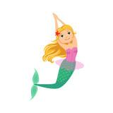 Blond Mermaid In Purple Swimsuit Top Bra  Starfish In Hair Fairytale Fantastic Creature Illustration Wall Sticker