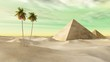 pyramids in the desert. desert and palm trees.