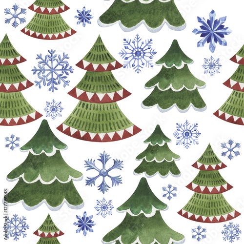 Cotton fabric Christmas winter holiday symbol in a watercolor style isolated