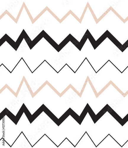 Seamless geometrical pattern. Minimalist modern style. Abstract mountains. Zigzag. It is black white and nude colors. - 127300151