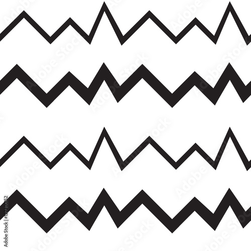 Seamless geometrical pattern. Minimalist modern style. Abstract mountains. Zigzag. It is black white colors. - 127300152