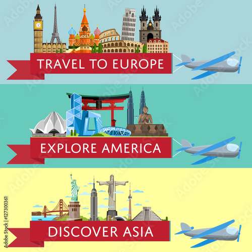 Plexiglas Groene koraal Worldwide travel horizontal flyers. Plane with banner and famous architectural attractions. Travel to Europe. Discover Asia. Explore America. Time to travel idea. Worldwide air traveling.