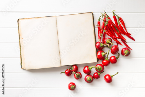 Poster Blank recipe book and hot chili peppers.