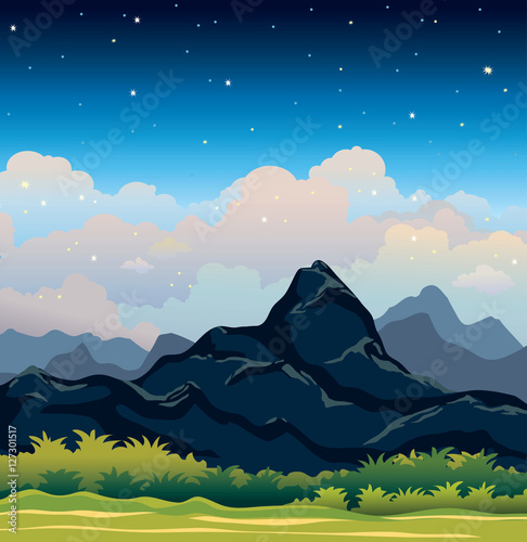 Summer landscape - night sky and mountains.