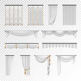 Transparent Curtains Draperies Realistic Set Background