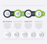 Product development timeline, infographic elements, step labels with line icons for business report, vector illustration