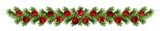 Christmas pine tree twigs and decorations garland