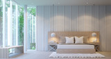 Modern White luxury bedroom decorate walls with wooden lattice