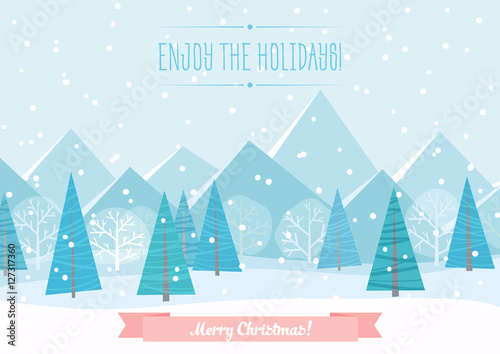 Fotobehang Lichtblauw Beautiful Chrismas winter flat landscape background. Christmas forest woods with mountains. New Year vector greeting card.