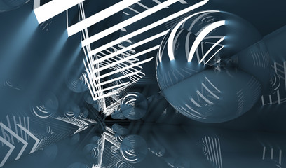 Tunnel with  flying mirror ball, 3d render