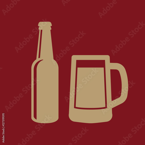 Bottle and glass of beer icon Canvas