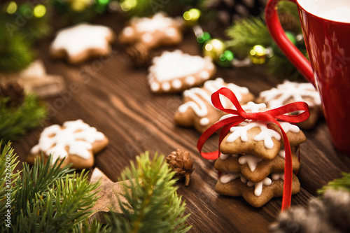Poster Christmas cookies with red bow