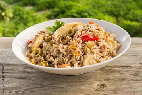 Foto Murales Insalata di riso integrale, brown rice salad