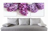 Floral motif canvas over modern couch, Lilac flowers posters collage for interior decor. - 127330998