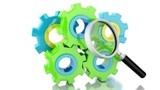 Color Gears Loop with Magnifying Glass 3d Animation. 4K resolution.