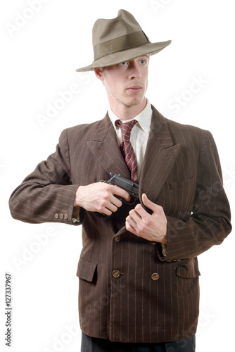 gangster in a suit vintage, with handgun Poster