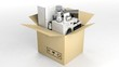 3d rendering home appliances in a moving box