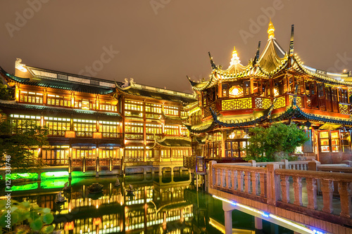 Shanghai, China view at the traditional Yuyuan Garden in night time.