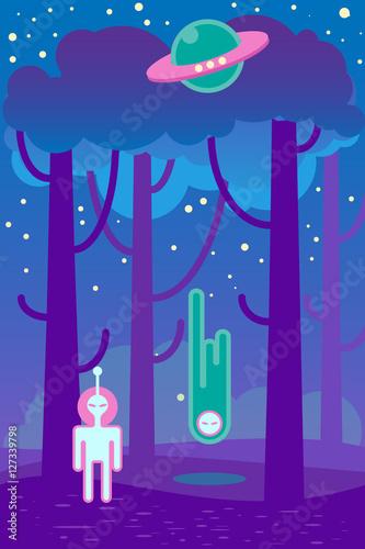 Foto op Canvas Violet Flat illustration about night landscape, ufo elements - alien and spaceship