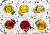 Fototapety Six different types of tea.