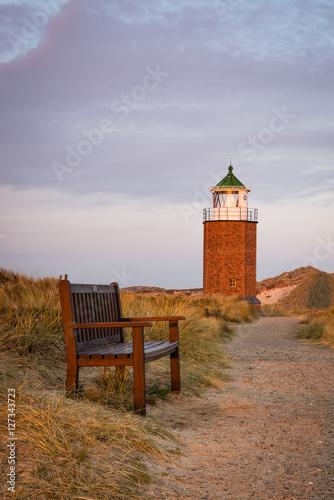 Staande foto Noordzee Sylt Kampen Leuchtturm Abend