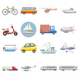 Transportation icons set. Outline illustration of 16 transportation vector icons for web