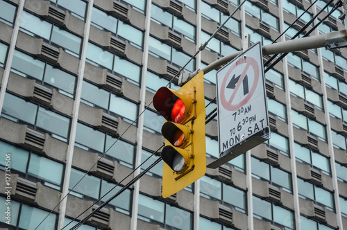 Poster Traffic light Toronto downtown. Red light.