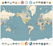 World Map old colors illustration with round flat icons and globe