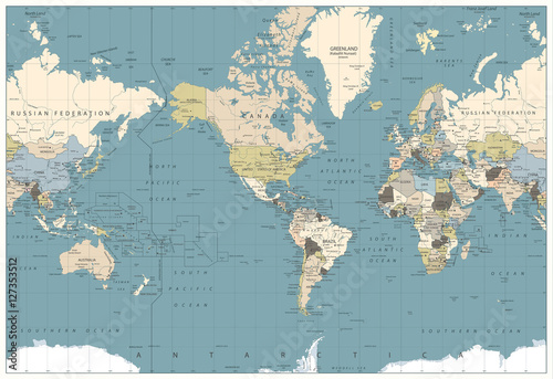 World Map retro colors illustration - America Centered World Map - 127353512