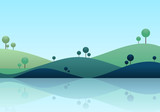 Natue landscape background, mountain scenery vector illustration