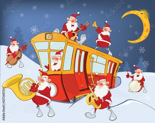 Papiers peints Chambre bébé Illustration of a Christmas Santa Claus, Music Band and a Red Tram
