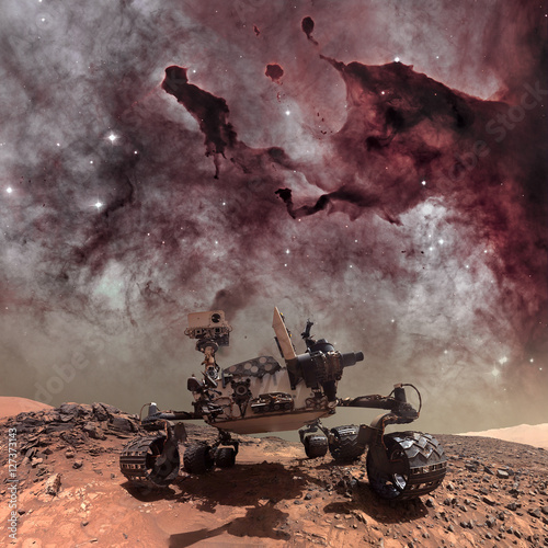 Plexiglas Nasa Curiosity rover exploring the surface of Mars.