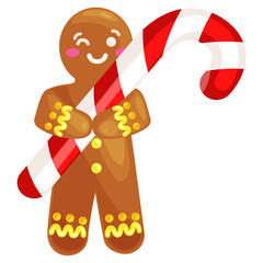 christmas cookies gingerbread man decorated with icing holding a candy xmas sweet food vector illustration © anutaberg