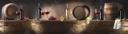 still life with red and white wine  - 127381143