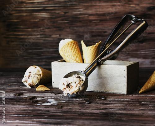 Foto op Aluminium Milkshake chocolate ice cream in a sugar waffle cones, selective focus