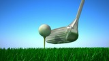 Slow Motion Golf strike. 3D animation.
