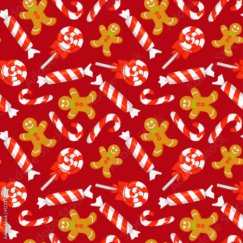 Materiał do szycia Seamless pattern with cute cartoon Christmas candy cane, sweets and gingerbreads. New year traditional symbols. Vector clip art