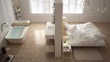 Scandinavian bathroom and bedroom, white minimalistic design, ho