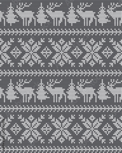 Cotton fabric Knitted Christmas and New Year pattern