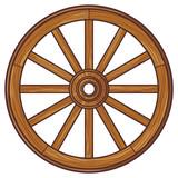 Old Wooden Wheel Wall Sticker