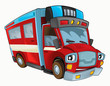 Cartoon happy and funny fire truck - isolated background - illustration for children