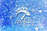 Drive carefully with car symbol, snow automotive graphic background, driving winter background - 127426104