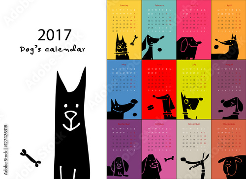 In de dag Art Studio Funny dogs, calendar 2017 design