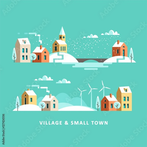 Foto op Canvas Groene koraal Village. Small town. Rural and urban winter landscape. Vector flat illustration.